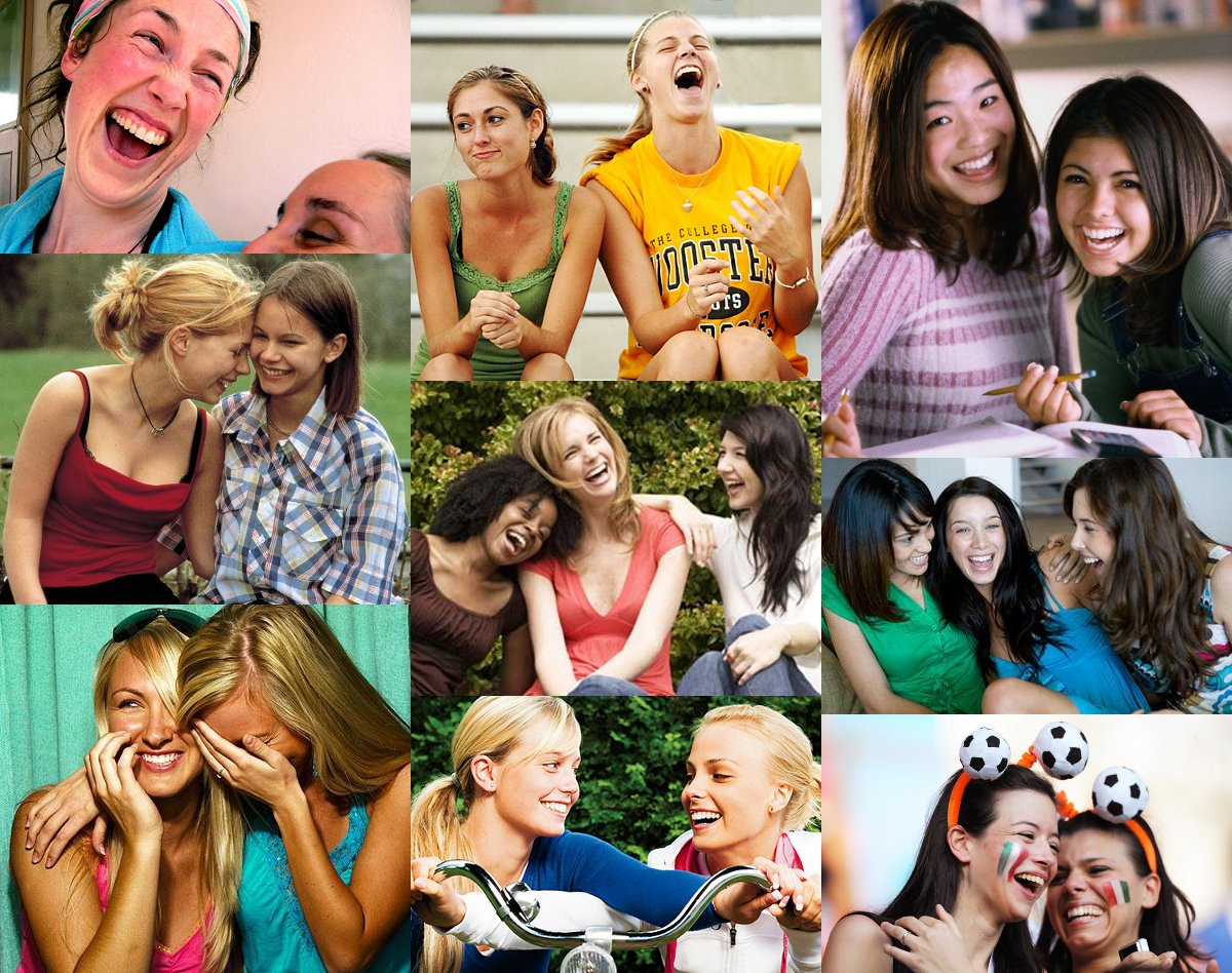 laughing girls collage