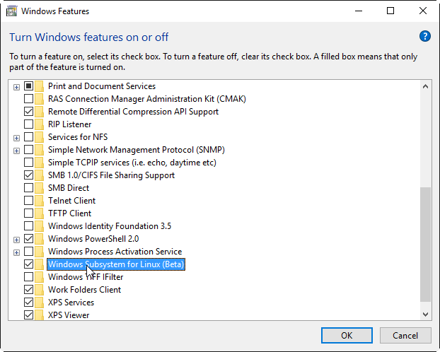 Select 'Windows Subsystem for Linux (beta)'
