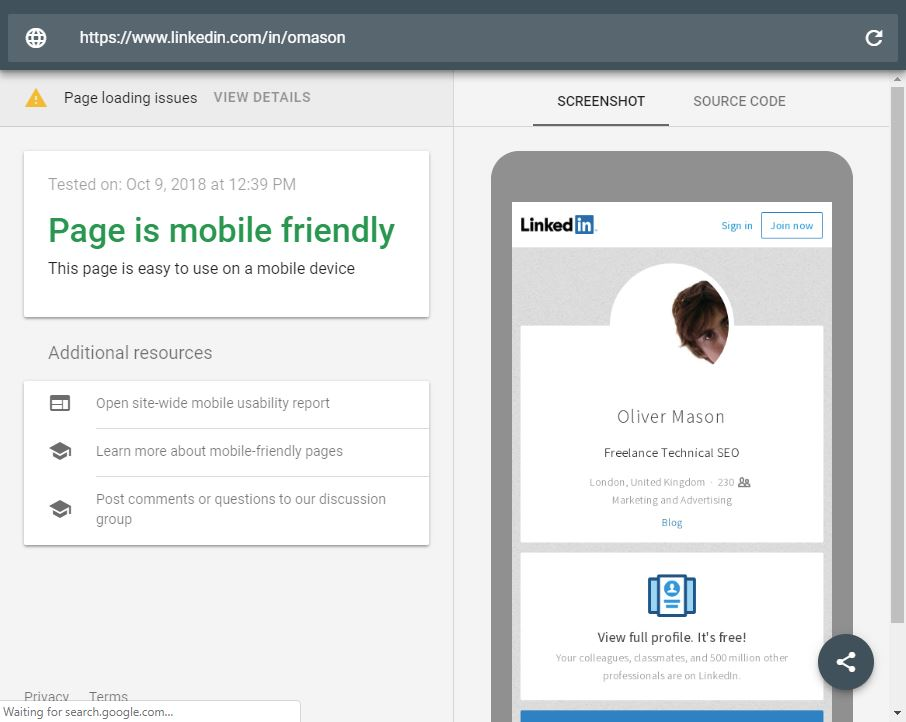 Linkedin Mobile Friendly tool