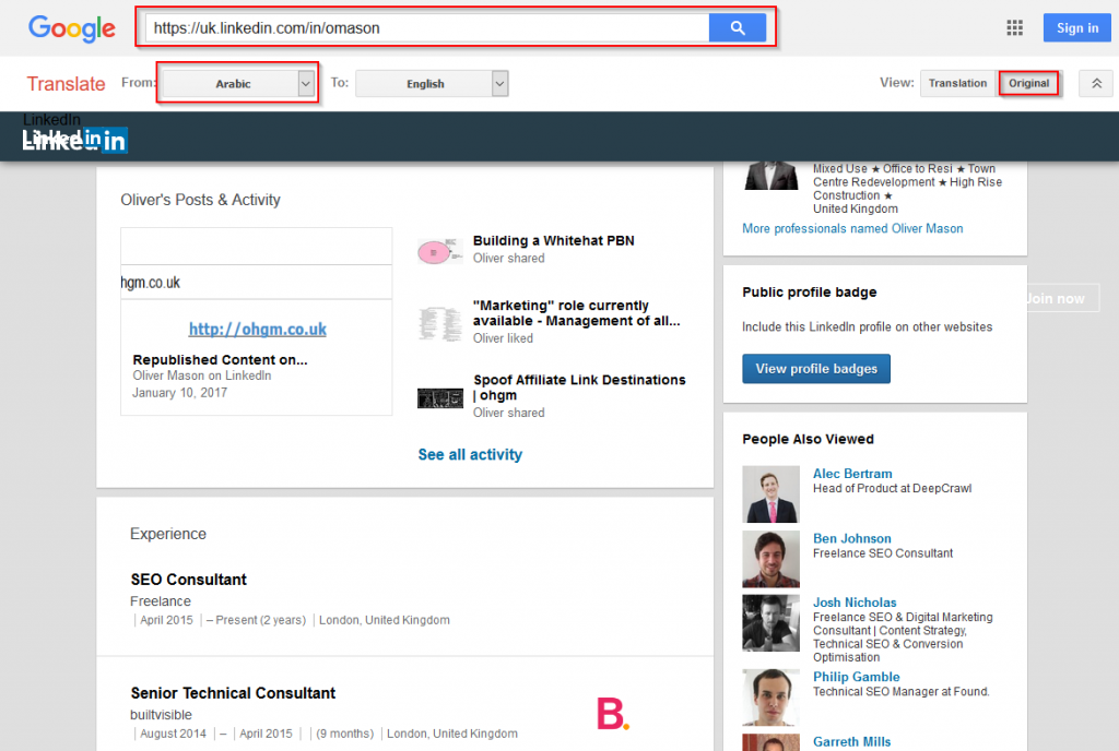 Using Google Translate to View LinkedIn Profiles