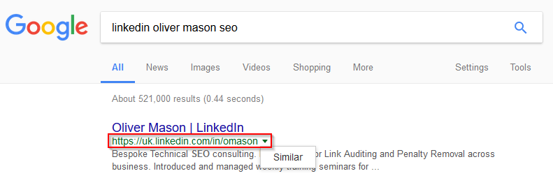 Linkedin Profile Search on Google